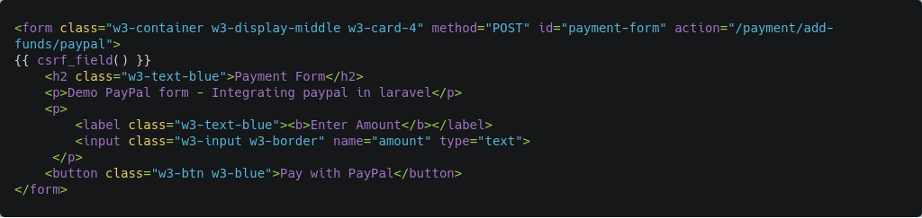 paypal payment form code
